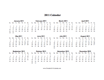 2011 Calendar on one page (horizontal) Calendar