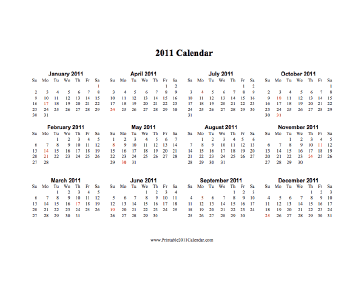 2011 Calendar (horizontal, descending, holidays in red) Calendar
