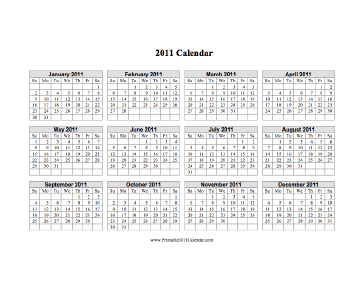 2011 Calendar on one page (horizontal grid) Calendar