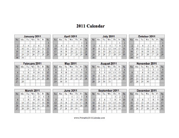 2011 Calendar on one page (horizontal, shaded weekends) Calendar