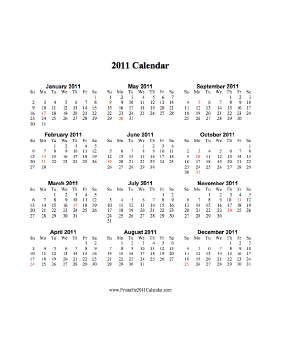 2011 Calendar (vertical, descending, holidays in red) Calendar