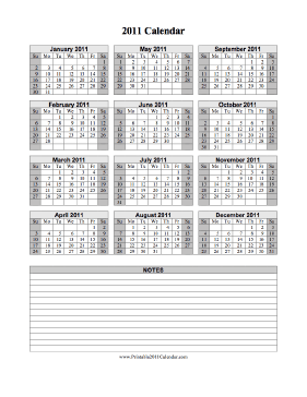 2011 Calendar on one page (vertical, shaded weekends, notes) Calendar