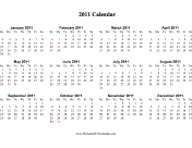 On one page (horizontal, holidays in red)