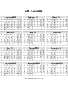 2011 Calendar on one page (vertical grid) calendar