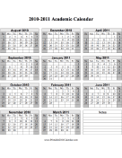 2010-2011 Academic Calendar (descending)