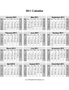 2011 Calendar on one page (vertical, shaded weekends) calendar